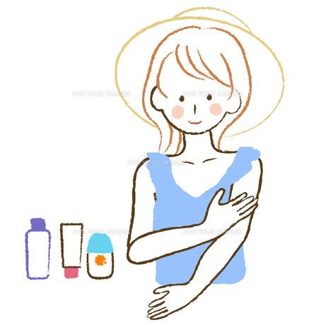 日焼け止めを塗る女性の素材 [FYI00076230]