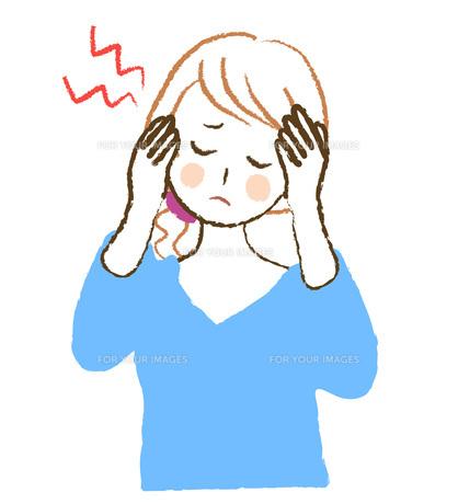 頭痛に困る女性の写真素材 [FYI00076409]