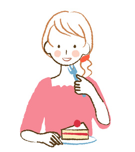 ケーキを食べる女性の素材 [FYI00076426]