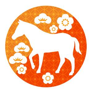 和柄の丸に馬の素材 [FYI00076434]