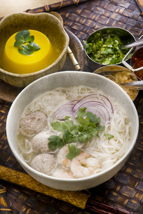 タイ風ライスヌードル肉団子入りとマンゴープリンの写真素材 [FYI00077096]