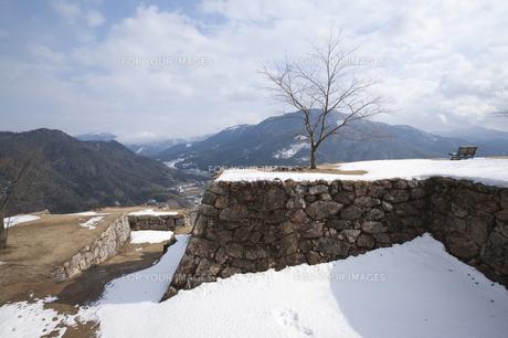 竹田城跡大手門の雪と木の写真素材 [FYI00080287]