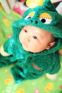 怪獣の着ぐるみを着た見つめる赤ちゃんの写真素材 [FYI00085220]