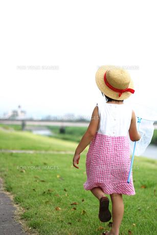 麦わら帽子を被った女の子の後ろ姿の写真素材 [FYI00085285]