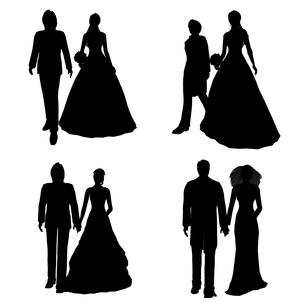 花婿花嫁シルエットの写真素材 [FYI00088218]