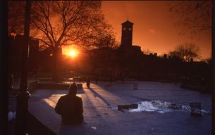 ワシントンスクエアパークの夕日の写真素材 [FYI00088512]