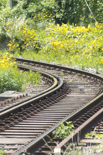 線路のカーブの写真素材 [FYI00088615]