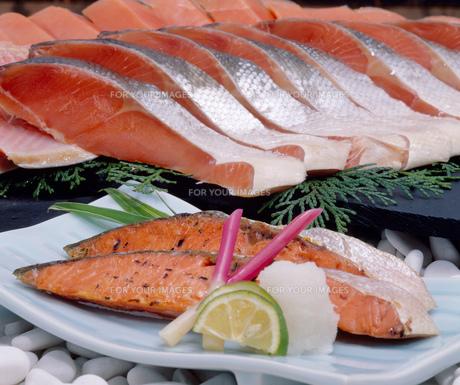 鮭の切り身の写真素材 [FYI00089079]