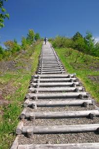 万字炭山ズリ山階段の写真素材 [FYI00091161]