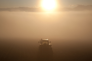 朝霧の大地に輝くトラクターの写真素材 [FYI00092167]