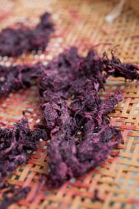 梅干し仕込み2010その5・紫蘇の葉を干してゆかり作りの写真素材 [FYI00093224]