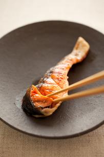 塩鮭を食べるの写真素材 [FYI00093359]