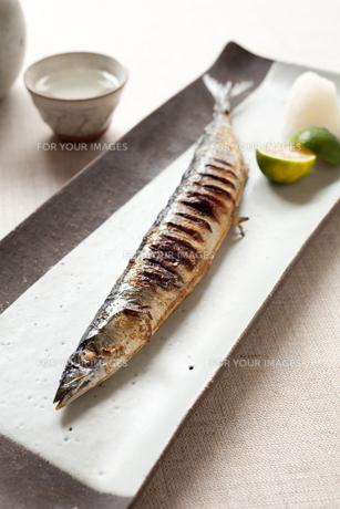 サンマの塩焼きと日本酒の素材 [FYI00093459]