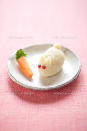 ウサギのポテトサラダとニンジンの写真素材 [FYI00093659]