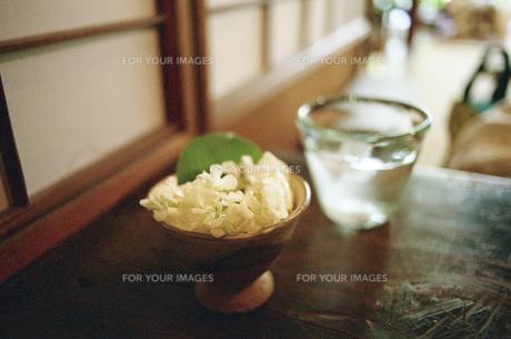 机の上の花とコップの写真素材 [FYI00094109]