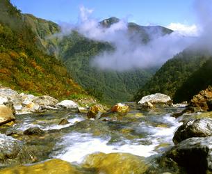 秋の北アルプス・針ノ木沢と爺ヶ岳の写真素材 [FYI00094507]