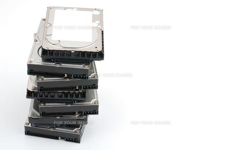積み上げたハードディスクの写真素材 [FYI00095646]