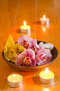 ティーキャンドルと皿の上のシンビジウムの花の写真素材 [FYI00096467]