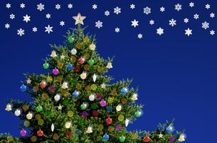 クリスマスツリーと雪の結晶の写真素材 [FYI00096767]
