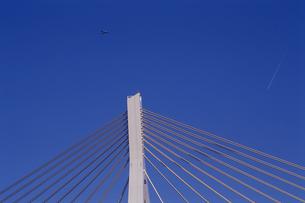 青森ベイブリッジ上空のプロペラ機の写真素材 [FYI00098758]