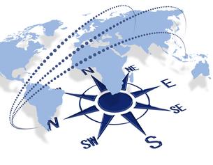 世界地図とコンパスの写真素材 [FYI00099335]