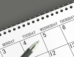 カレンダーとボールペンの素材 [FYI00099433]