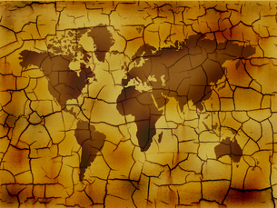 ひび割れた世界地図の写真素材 [FYI00099508]