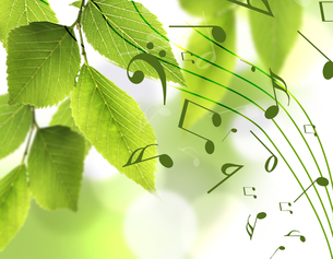 新緑と音楽の写真素材 [FYI00099781]