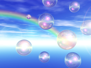 虹とシャボン玉の写真素材 [FYI00099872]