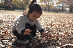 落ち葉で遊ぶ子供の写真素材 [FYI00100991]