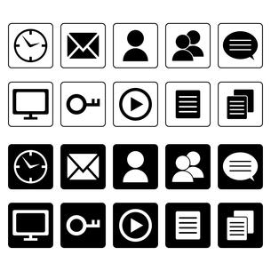 時計・メール・人・セリフ・テレビ等のアイコンセットの写真素材 [FYI00102970]