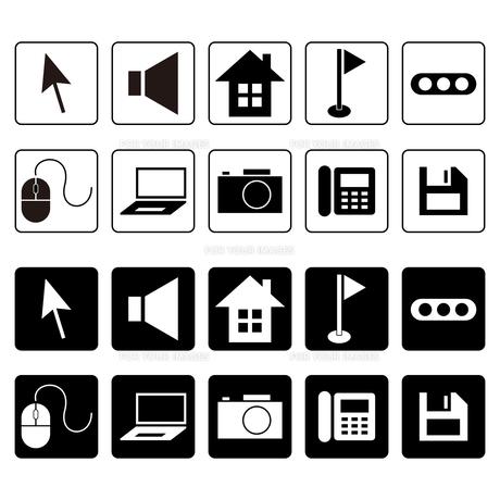 マウス・ノートPC・カメラ・電話・家等のアイコンセットの写真素材 [FYI00102991]