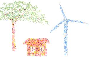 カラースプレーで風力発電のイメージの素材 [FYI00104047]