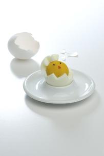 ヒヨコのゆで卵と殻の写真素材 [FYI00108756]