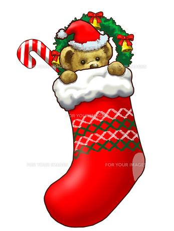 クリスマスソックスの中のテディベアの写真素材 [FYI00108965]
