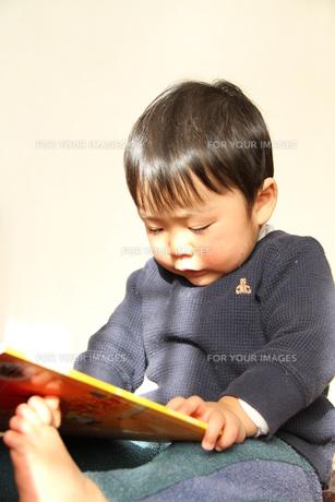 絵本を読む男の子2の写真素材 [FYI00109643]
