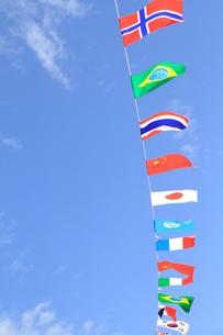 秋晴れの万国旗の写真素材 [FYI00109836]
