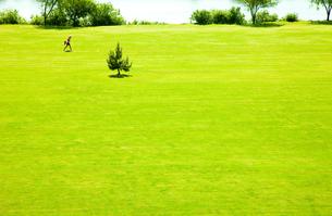 ゴルフ場のフェアフェーを歩く女性ゴルファーの素材 [FYI00110042]