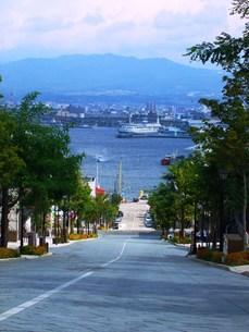 北海道函館の町並みその2 八幡坂からの風景の写真素材 [FYI00110339]