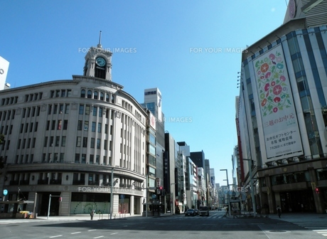 東海道の街並み 銀座4丁目交差点の写真素材 [FYI00110402]