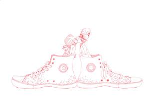 スニーカーキス ピンクの写真素材 [FYI00110523]