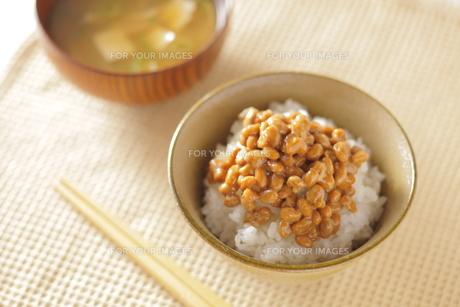 納豆ご飯とお味噌汁の写真素材 [FYI00111311]