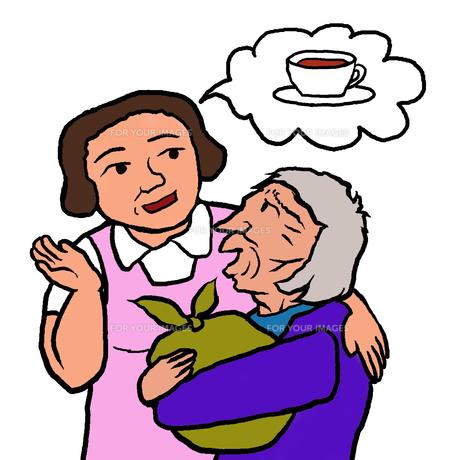 帰宅を訴える認知症の高齢者女性に「お茶を飲んでからに」となだめる介護士(帰宅願望)の写真素材 [FYI00112829]