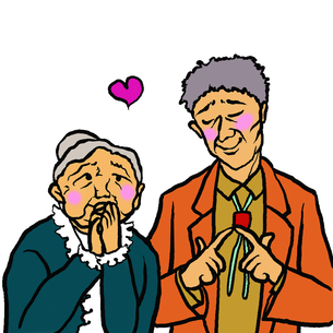 恥らいながら両方とも好意を持ち合う高齢者男女の写真素材 [FYI00112833]