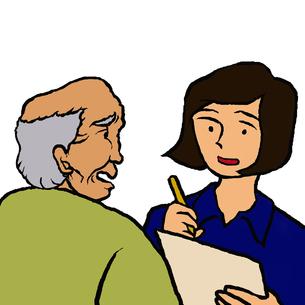 高齢者男性と面談をする女性のケースワーカーの写真素材 [FYI00112835]