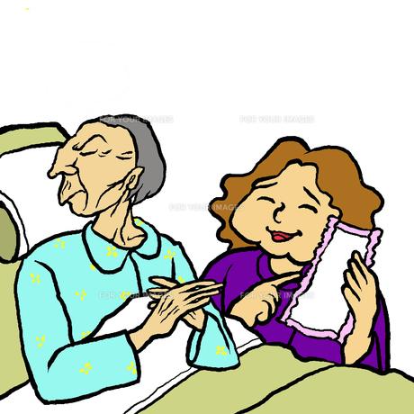 尿とりパットを勧める嫁に拒否する姑の写真素材 [FYI00112842]