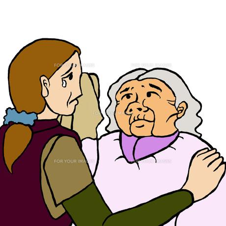 母が娘を判別出来ないために泣く娘とその涙を拭いてあげる高齢認知症の母親の写真素材 [FYI00112844]