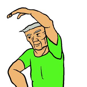 ストレッチを行う体格の良い高齢男性(介護予防)の写真素材 [FYI00112848]