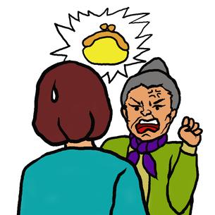財布盗難を若い女性に訴える高齢者女性(物盗られ妄想)の写真素材 [FYI00112852]