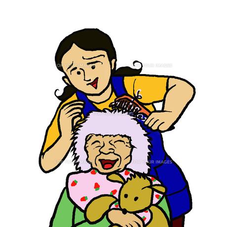 認知症の高齢者女性と会話しながら髪をとかす若い女性の写真素材 [FYI00112855]